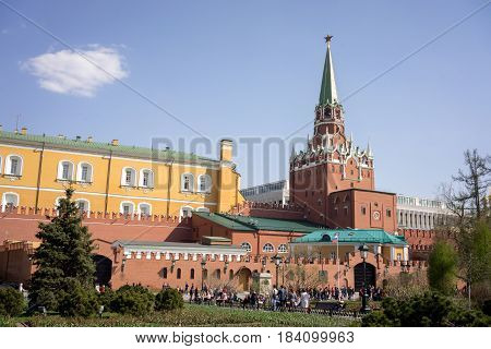 Moscow, Russia - April 30, 2017: Troitskaya Tower In The Center Of The Northwestern Wall Of The Mosc