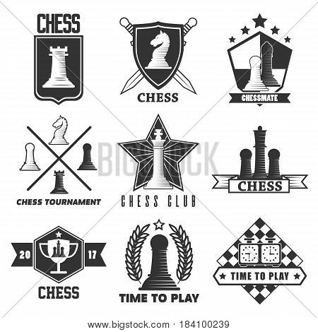 Chess tournament vector logos or labels templates. Vector isolated symbols of chessman pieces king and queen, rook or pawn and knight bishop on chessboard with winnner cup and star
