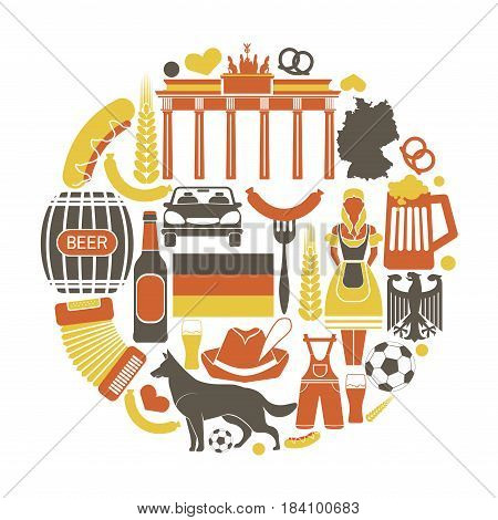 Germany sightseeing landmarks and famous vector travel attractions poster. Vector icons of German map and flag, Bundestag and Brandenburg Gate, curry wurst sausage and beer, sheepdog and Oktoberfest