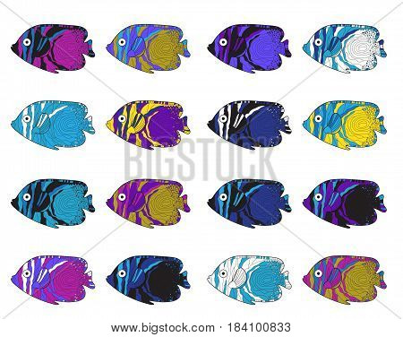 Fish colorful set. Hand drawing. Vector illustration