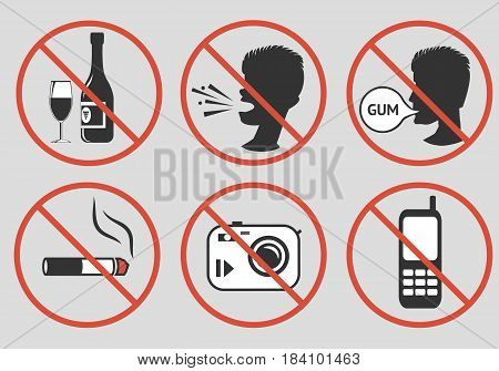 Forbidden signs. Prohibition of alcohol consumption loud screaming chewing gum smoking photographing talking on a mobile phone. Vector illustration.