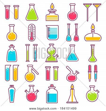 Laboratory glass vials and tests equipment icons. Vector isolated flat symbols of chemistry lab chemicals and liquids in beaker and test-tube or flask bottles