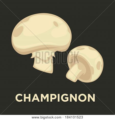 Champignon edible mushroom. Vector isolated flat icon for mushrooming or gourmet cuisine design