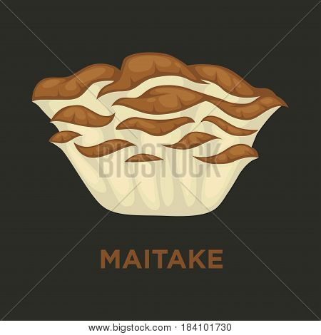 Maitake or signorina edible mushroom. Vector isolated flat icon for mushrooming or gourmet cuisine design
