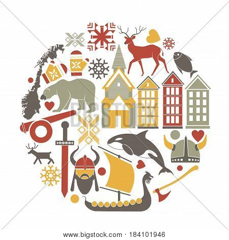 Norway sightseeing landmarks and famous vector travel attractions poster. Vector icons of Norwegian map and flag, architecture, reindeer or polar bear and Viking boat, snow pattern and fish