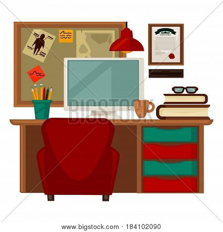 Home parlor workplace furniture and interior accessories and supplies. Vector flat icons set of chair at table with drawers, book shelf and lamp over computer laptop, schedule and notes on wall board