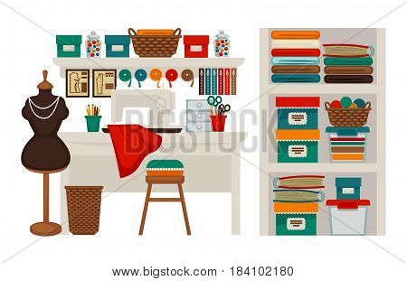Atelier tailor or dressmaker modiste salon or parlor workplace. Vector isolated flat icons of sewing machine, dress on dummy, scissors and tape measure, textile clothes, threads and knit needles