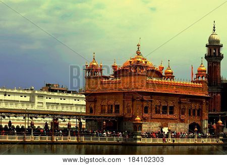 Golden Temple in the holy city Amritsar Punjab India