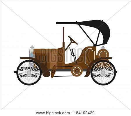 Old car or vintage retro automobile. Vector isolated icon of antique veteran collector auto model with retractable cabriolet hardtop on white background