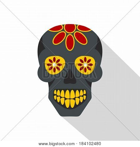 Sugar skull, flowers on the skull icon. Flat illustration of sugar skull, flowers on the skull vector icon for web on white background