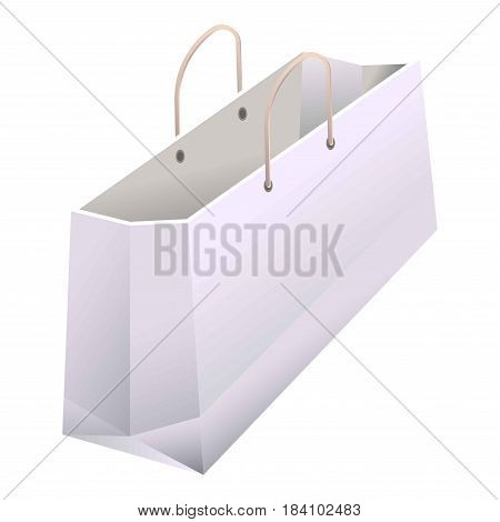Paper shopping bag with handles. White 3D realistic mock-up model of cardboard or carton product foldable package. Vector isolated icon