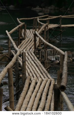 The bamboo bridge in the outdoors
