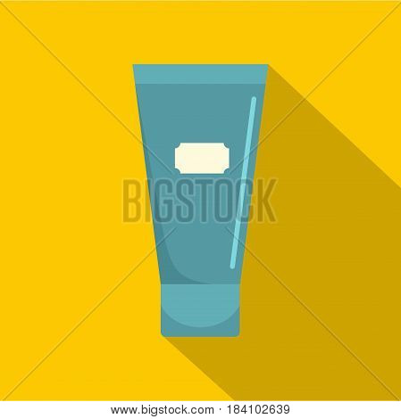 Blue cosmetic tube of cream or gel icon. Flat illustration of blue cosmetic tube of cream or gel vector icon for web on yellow background