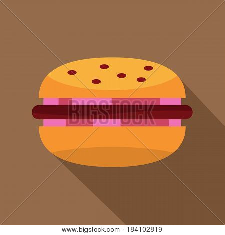 Burger with red onion, meat patty and bun icon. Flat illustration of burger with red onion, meat patty and bun vector icon for web on coffee background