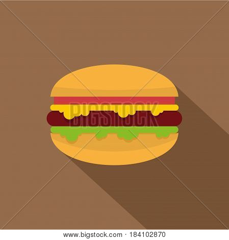 Hamburger with melted cheese, tomatoes and salad icon. Flat illustration of hamburger with melted cheese, tomatoes and salad vector icon for web on coffee background