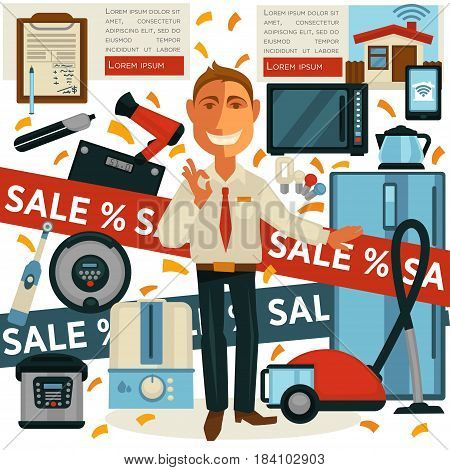 Promo sale and salesman in show or store with digital and electronic home appliances. Vector flat design of promoter man offering products for percent discount shopping and purchase promotion
