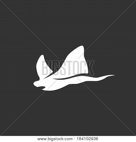 Stingray vector logo isolated on a black background. Stingray icon silhouette design template. Simple symbol concept in flat style. Abstract sign pictogram for web mobile and infographics