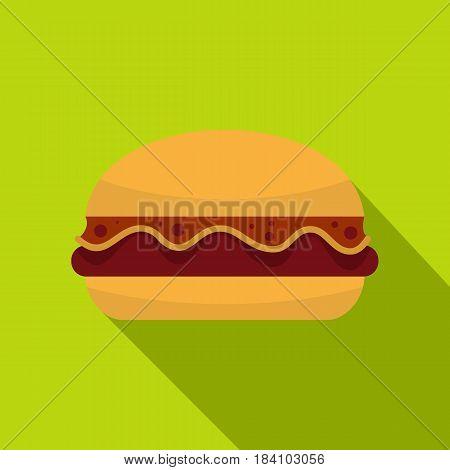 Hamburger icon. Flat illustration of hamburger vector icon for web on lime background