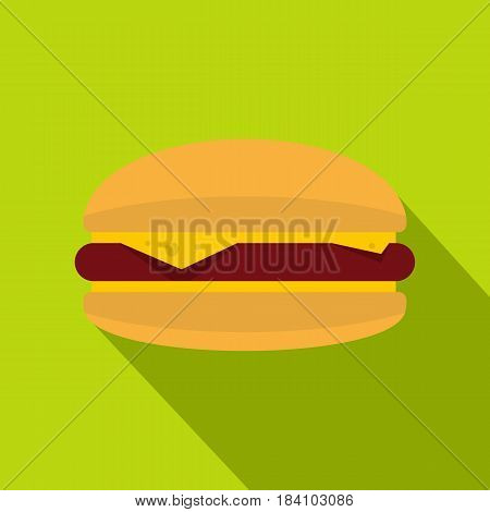 Burger with cheese, meat patty and bun icon. Flat illustration of burger with cheese, meat patty and bun vector icon for web on lime background