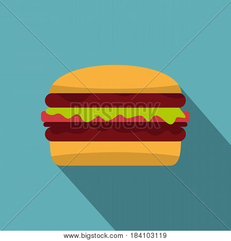 Delicious hamburger icon. Flat illustration of delicious hamburger vector icon for web on baby blue background