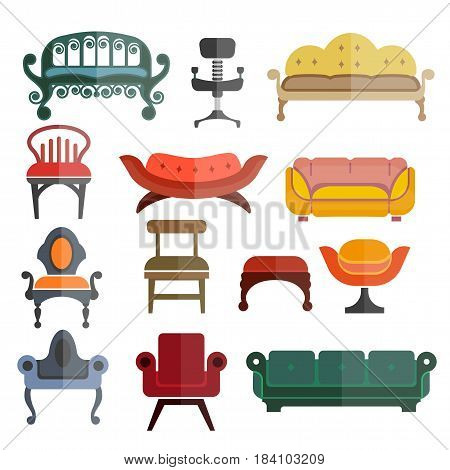 Seats and chairs furniture for home, outdoor and office. Vector isolated flat icons of retro sofa, armchair and modern bench or footstool