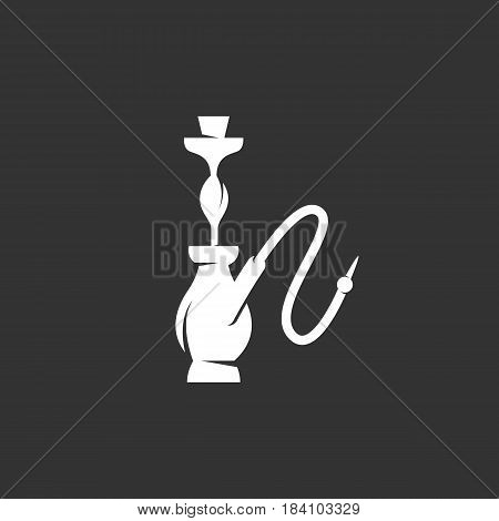 Hookah icon in flat style isolated on black background. Hookah logo silhouette. Abstract sign symbol pictogram. Vector illustration