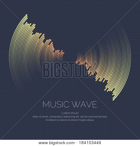 Poster of the sound wave. Vector illustration on dark background