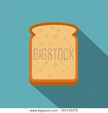 Slice of white bread icon. Flat illustration of slice of white bread vector icon for web on baby blue background