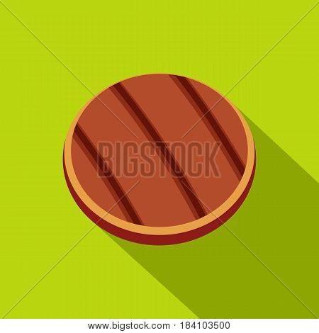 Grilled round beef steak icon. Flat illustration of grilled round beef steak vector icon for web on lime background