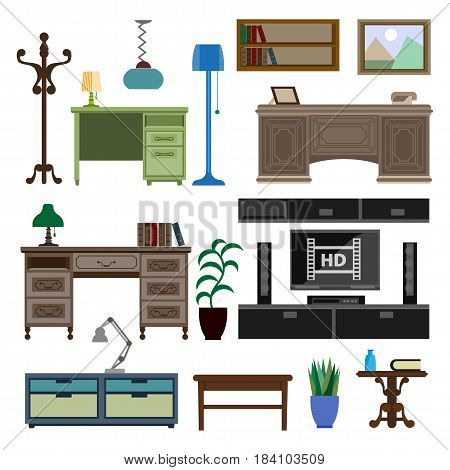 Home room and workplace furniture pieces and accessories. Vector flat icons set of table desk with lamp, drawers chest and television stand, coat hanger and picture on bookshelf