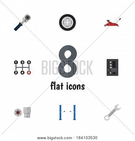 Flat Workshop Set Of Auto Jack, Automatic Transmission, Lifting And Other Vector Objects. Also Includes Spanner, Tire, Turnscrew Elements.