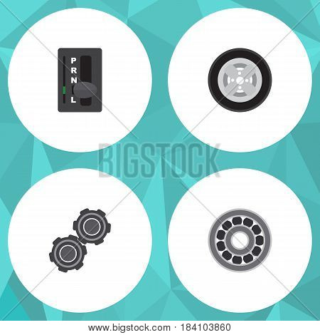Flat Service Set Of Automatic Transmission, Belt, Brake Disk And Other Vector Objects. Also Includes Automatic, Carrying, Pulley Elements.