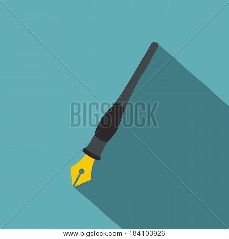 Ink pen icon. Flat illustration of ink pen vector icon for web on baby blue background