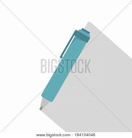 Blue pen icon. Flat illustration of blue pen vector icon for web on white background