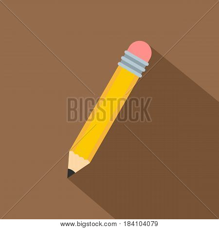 Yellow pencil with eraser icon. Flat illustration of yellow pencil with eraser vector icon for web on coffee background