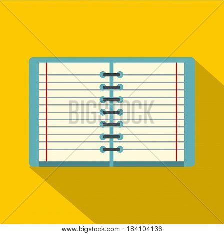 Open spiral lined notebook icon. Flat illustration of open spiral lined notebook vector icon for web on yellow background