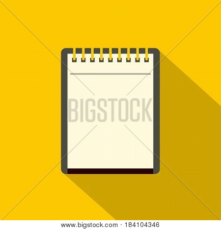 Blank spiral notepad icon. Flat illustration of blank spiral notepad vector icon for web on yellow background