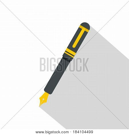 Black fountain pen icon. Flat illustration of black fountain pen vector icon for web on white background