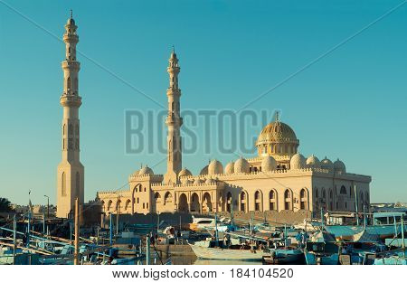Beautiful architecture of Mosque in Hurghada at sunset, Egypt