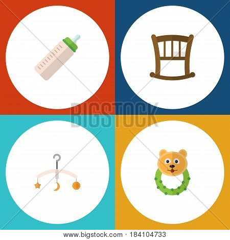 Flat Infant Set Of Mobile, Infant Cot, Rattle And Other Vector Objects. Also Includes Cot, Beanbag, Baby Elements.