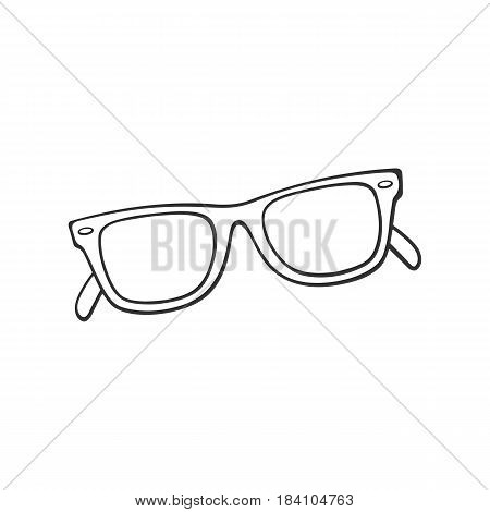 Vector illustration. Hand drawn doodle of retro sunglasses horn-rimmed glasses. Cartoon sketch. Decoration for greeting cards posters emblems wallpapers