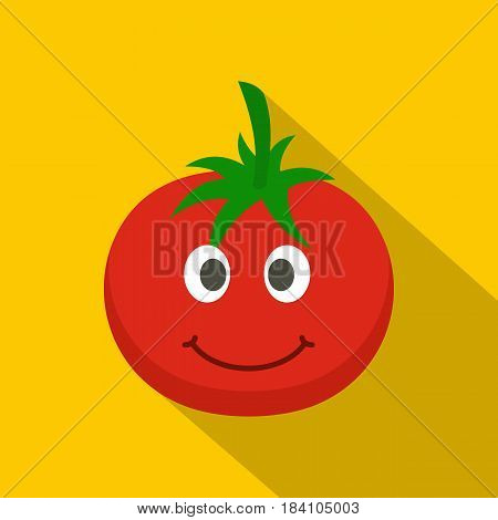 Red smiing tomato icon. Flat illustration of red smiing tomato vector icon for web on yellow background