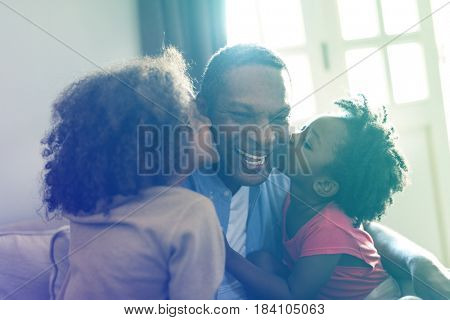 Daughters Kisses Father Morning Happiness