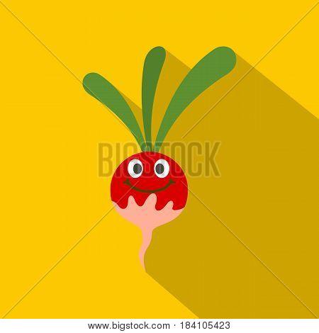 Fresh smiling radish icon. Flat illustration of fresh smiling radish vector icon for web on yellow background