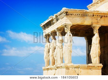 details of Erechtheion temple in Acropolis of Athens, Greecer, retro toned