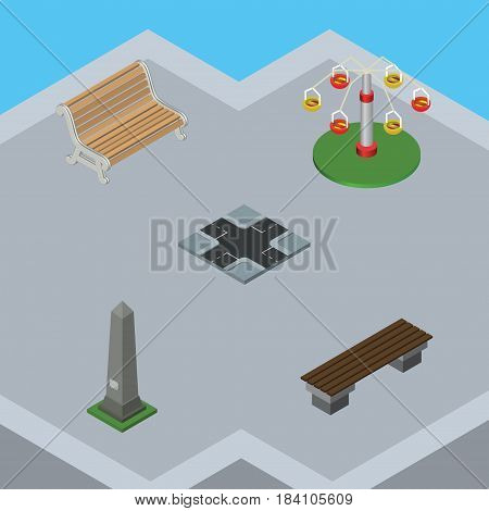 Isometric Architecture Set Of Bench, Intersection, Seat And Other Vector Objects. Also Includes Road, Carousel, Bench Elements.
