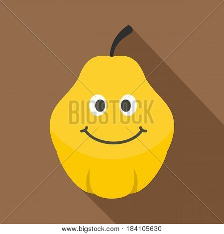 Yellow smiling quince fruit icon. Flat illustration of yellow smiling quince fruit vector icon for web on coffee background