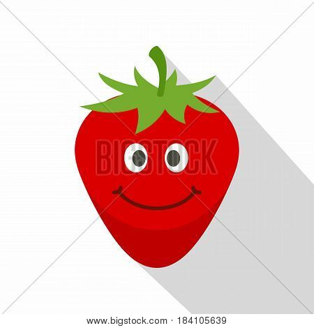Ripe smiling strawberry icon. Flat illustration of ripe smiling strawberry vector icon for web on white background