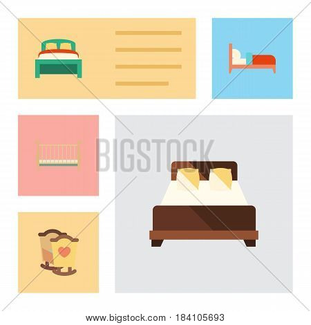 Flat Bed Set Of Bearings, Cot, Crib And Other Vector Objects. Also Includes Child, Bed, Bearings Elements.