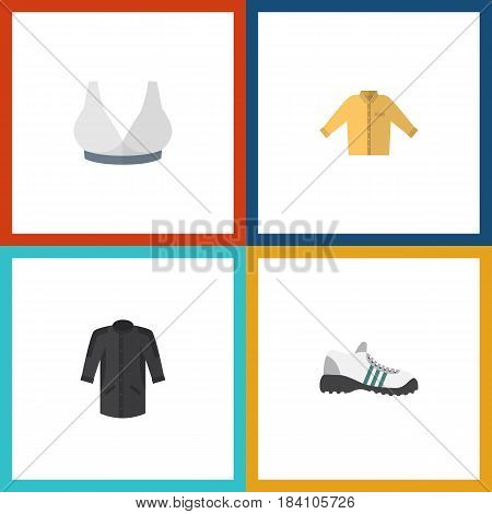 Flat Clothes Set Of Brasserie, Banyan, Sneakers And Other Vector Objects. Also Includes Clothes, Shoes, Breast Elements.